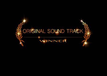 Gold-Vektor-Original-Soundtrack-Gewinner-Konzeptvorlage. Preissymbol für den besten Original-Soundtrack