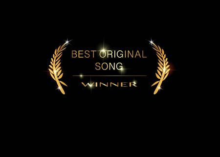 Gold vector best original song winner concept template. Best original soundtrack prize icon