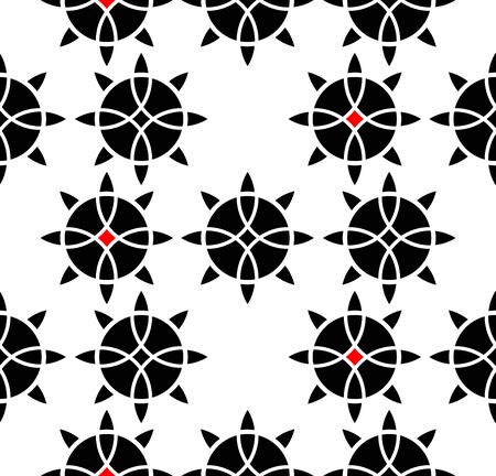 Celtic symbol seamless ornament interlaced tape. Sacred flower black ornament isolated on white background  イラスト・ベクター素材
