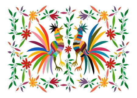 Ethnic Mexican tapestry with embroidery floral and roosters jungle animals hand-made. Naive print folk decorations. latin, Spanish, mediterranean style. Colorful elements textile embroidery isolated
