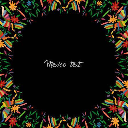 Otomi-Stil, bunter mexikanischer traditioneller Textilstickerei-Stil aus Tenango, Hidalgo México. Round Copy Space Blumen- und Pfauenzusammensetzung, schwarzer Hintergrund