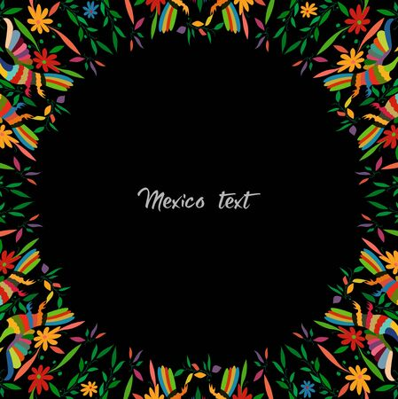 Otomi style, Colorful Mexican Traditional Textile Embroidery Style from Tenango, Hidalgo México. Round Copy Space Floral and peacocks Composition, black background