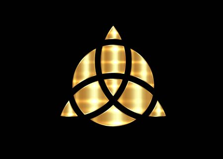 Triquetra geometric, Gold Trinity Knot, Wiccan symbol for protection. Vector Celtic trinity knot isolated on black background. Wiccan Ancient occult divination symbol