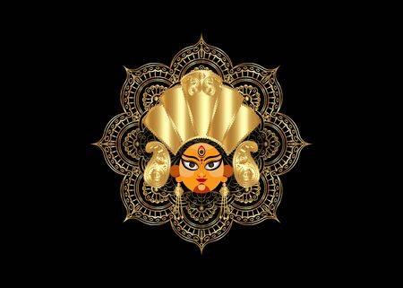 illustration of Goddess Durga Face in Happy Durga Puja Subh Navratri Indian header religious banner with luxury golden mandala. Vector isolated on black background Ilustração