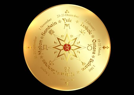 Wheel of the year, observed by many modern Pagans. Wiccan calendar and holidays. Compass with in the middle pentagram symbol, names in Celtic of the Solstices