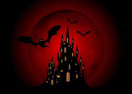 Mystic vector illustration, dark red background with a silhouette of characters and scary bats with gothic haunted castle. Graphic design for Halloween parties Ilustracja