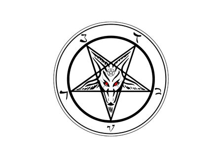 The Sigil of Baphomet original Goat Pentagram on a bloody satanic symbol, vector isolated or white background