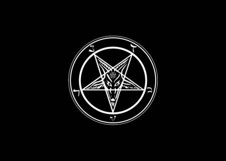 Das Sigil von Baphomet Original Ziegen-Pentagramm auf einem blutigen satanischen Symbol, Vektor isoliert oder schwarzer Hintergrund