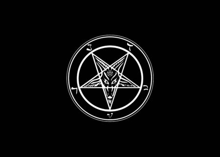 The Sigil of Baphomet original Goat Pentagram on a bloody satanic symbol, vector isolated or black background