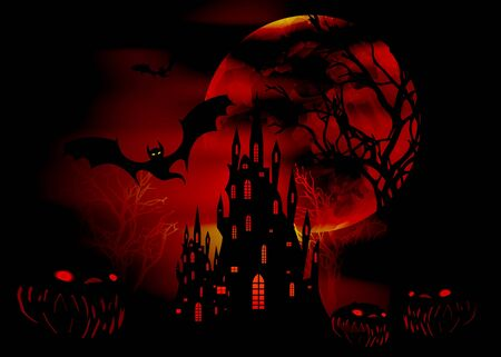 Mystic vector illustration, dark red background with a silhouette of characters and scary bats with gothic haunted castle. Graphic design for Halloween party