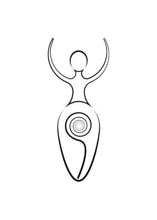 Diosa espiral de la fertilidad, Símbolos paganos Wicca, El ciclo en espiral de la vida, la muerte y el renacimiento. Wicca, símbolo de la madre tierra de la procreación, icono de signo de tatuaje vectorial aislado sobre fondo blanco. Ilustración de vector