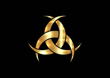 Gold Emblem Of Diane De Poitiers, Three Interlaced Crescents moon. Religion symbol, Odin icon. Golden luxury Celtic sacred flower Wiccan divination, tattoo tribal sign isolated on black background Illustration