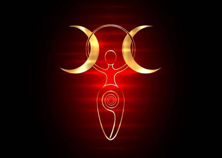 goldene Spiralgöttin der Fruchtbarkeit und dreifacher Mond Wiccan. Der spiralförmige Kreislauf von Leben, Tod und Wiedergeburt. Golden Woman Wicca Mutter Erde Symbol der Fortpflanzung, Vektor Tattoo Neonzeichen Symbol Vektorgrafik