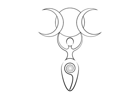 spiral goddess of fertility and triple moon wiccan. The spiral cycle of life, death and rebirth. Woman wicca symbol earth procreation symbol, vector tattoo sign icon isolated on white