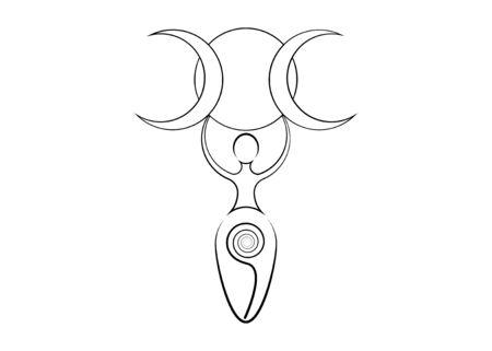 Spiralgöttin der Fruchtbarkeit und dreifacher Mondwiccan. Der spiralförmige Kreislauf von Leben, Tod und Wiedergeburt. Frau Wicca Symbol Erde Fortpflanzungssymbol, Vektor Tattoo Zeichen Symbol isoliert auf weiss Vektorgrafik
