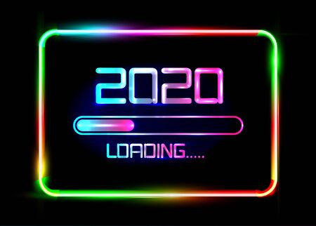 Happy new year 2020 with loading icon blue neon style. Progress bar almost reaching new year's eve. Vector illustration with 2020 loading. Isolated or colorful neon sign frame background