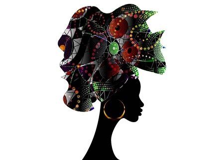 African head hairstyle, colorful head scarf, beautiful portrait Afro woman in traditional Head tie Scarf Turban. African clothing Kente, Shenbolen Ankara head wraps fabric design 일러스트