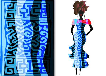 Ropa de mujer Ankara, tela estampada africana, adornos étnicos hechos a mano para su diseño, elementos geométricos con motivos étnicos y tribales. Textura, vestidos textiles afro estilo de moda, envoltura pareo, vestido batik Ilustración de vector