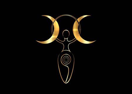 goldene Spiralgöttin der Fruchtbarkeit und dreifacher Mond Wiccan. Der spiralförmige Kreislauf von Leben, Tod und Wiedergeburt. Golden Woman Wicca Mutter Erde Symbol der Fortpflanzung, Vektor auf schwarzem Hintergrund isoliert