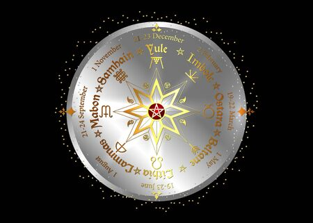 Wheel of the year, observed by many modern Pagans. Wiccan calendar and holidays. Compass with in the middle pentagram symbol, names in Celtic of the Solstices Vector Illustration
