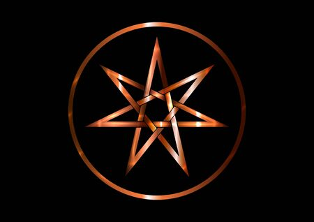 Seven point star or septagram, known as heptagram. Bronze metal round Elven or Fairy Star, magical or wiccan witchcraft heptagram symbol. Heptagon mystic sign. Witches runes, wicca divination symbols