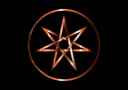 Sieben-Punkte-Stern oder Septagramm, bekannt als Heptagramm. Bronzemetall runder Elfen- oder Feenstern, magisches oder wicca-Heptagrammsymbol Siebeneck mystisches Zeichen. Hexenrunen, Wicca-Wahrsagungssymbole