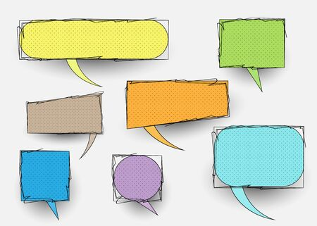 set of comic doodles, hand drawn speech bubbles and colorful texture. Vector isolated on white background