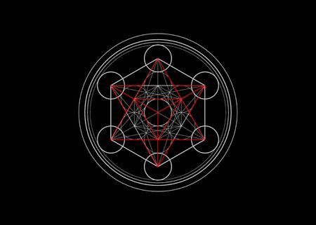 Metatrons Cube, Flower of Life. Sacred geometry, graphic element Vector isolated Illustration or black background. Mystic icon platonic solids, abstract geometric drawing, mandala crop circles Çizim