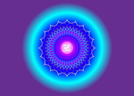 Crown Chakra Sahasrara. 7th chakra is located at the top of the head. It represents states of higher consciousness and divine connection. Sacred geometry flower mandala purple color for meditation