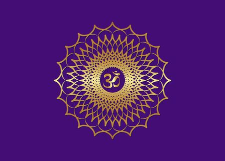 Crown Chakra Sahasrara. 7th chakra is located at the top of the head. It represents states of higher consciousness and divine connection. Gold Sacred geometry flower mandala purple color for meditation