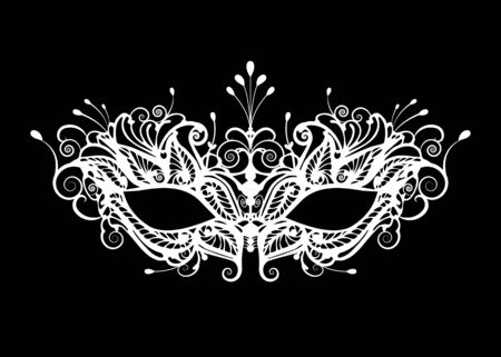 Carnival mask icon isolated on black background. laser cut mask with Venetian embroidery floral decoration. Vector illustration design