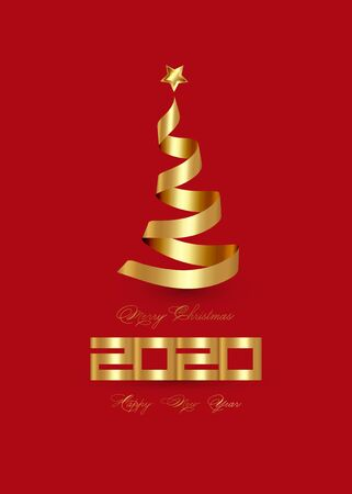 2020 Happy New Year and Creative Xmas tree made by 3D gold ribbon and golden star, elegant vector isolated on red background for Merry Christmas celebration concept Illusztráció