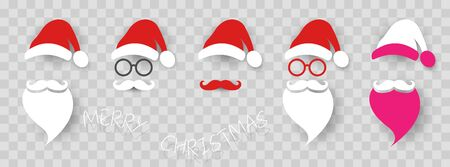 Santa Claus fashion hipster style set icons. Santa hats, mustache and beards, glasses. Christmas elements for your festive design. Vector illustration isolated transparent background