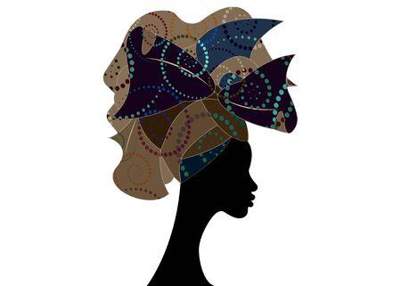 African head hairstyle, colorful head scarf, beautiful portrait Afro woman in traditional Head tie Scarf Turban. African clothing Kente, Shenbolen Ankara head wraps fabric design Ilustracja
