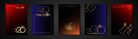 2020 set cards Happy new year gold texture, greeting card or themed Ilustracja