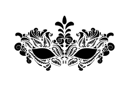 Carnival mask icon isolated on white background. laser cut mask with Venetian embroidery floral decoration. Vector illustration design