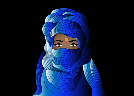 Portrait of beautiful woman wearing blue tuareg scarf. Young girl in national costume of African tribal nomads. Berber women in blue ethnic Turban and ancient clothes, vector blue night background Foto de archivo - 133745380