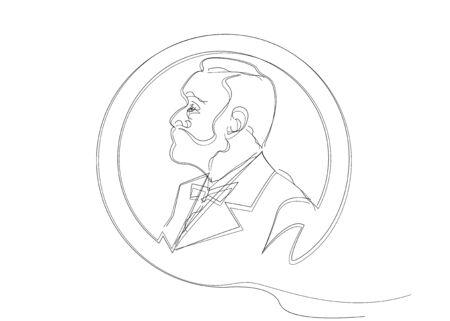 schizzo a linea singola dell'uomo con la barba. Premio per la letteratura musicale, icona della moneta del profilo della testa dell'uomo. Il premio dell'anno, medaglia premio astratto vettoriale, isolato su sfondo bianco Vettoriali