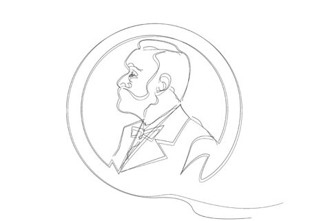 single line sketch of man with beard. Music literature award, Man Head Profile coin icon. The award of the year, vector abstract prize medal, isolated on white background