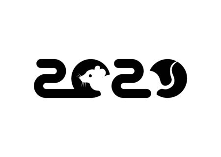 Banner black 2020 happy new year, Christmas. Vector flat illustration with a silhouette image of a mouse. The rat is the talisman of the chinese eastern calendar. isolated on white background