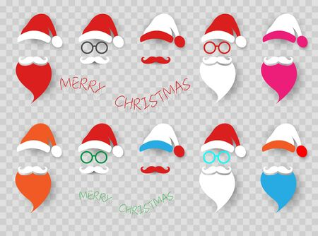 Santa Claus colorful fashion hipster style set icons. Santa hats, mustache and beards, glasses. Christmas elements for your festive design. Vector illustration isolated transparent background
