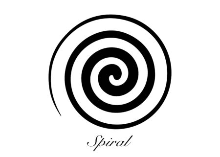 Ancient Spiral. This rapresent the Goddess creative powers of the Divine Feminine, and the never ending circle of creation. Wiccan fertility symbol. Isolated on white, vector illustration