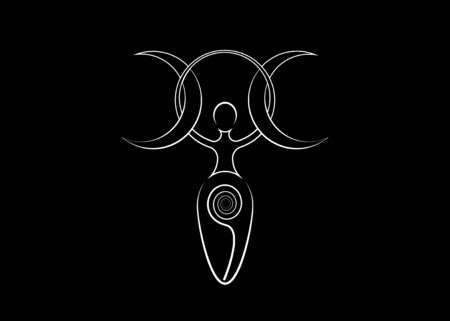 spiral goddess of fertility, Wiccan Pagan Symbols Triple moon. The spiral cycle of life, death and rebirth. Wicca mother earth symbol of procreation, vector tattoo sign icon isolated on black