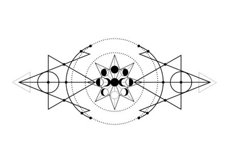 phases of the moon and triple moon. Mystical drawing, energy circles, magic triangles. Sacred geometry. Alchemy, wicca, esoteric, occultism. Monochrome Vector Illustration isolated on white background Illusztráció
