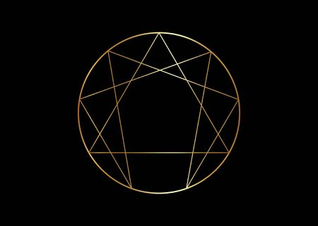 Gold Enneagram icon, sacred geometry, vector illustration isolated on black background