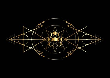phases of the moon and triple moon. Golden Mystical drawing, energy circles, magic triangles. Gold Sacred geometry. Alchemy triangles, wicca, esoteric, occultism. Vector isolated on black background Ilustração