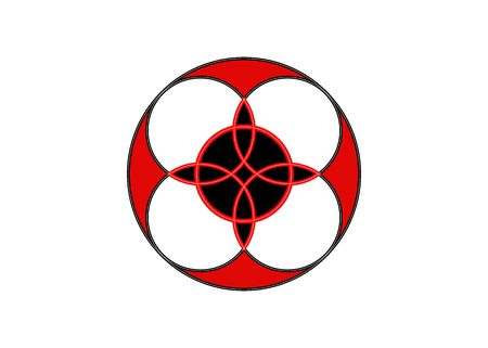 sacred flower, Celtic like style linear star with circle symbol. Red logo design mystical sacred geometry, vector isolated