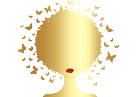 Composizione decorativa di farfalle ricci afro oro con ragazza nera di sagoma ritratto. Concetto di centro estetico, salone di acconciatura, Spa. Sciame di farfalle copricapo in acconciatura riccia. Logo donna africana African Logo