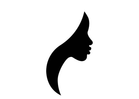 African american woman face profile. Women profile silhouette on the white background. Vector illustration isolated
