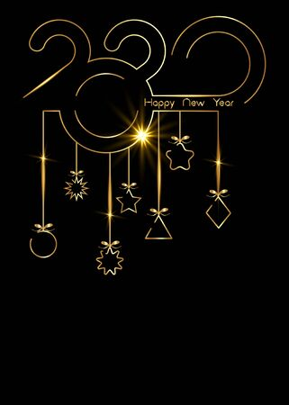 Golden vertical banner 2020 Happy New Year, gold luxury Christmas Balls isolated on black background Stock Vector - 134925082